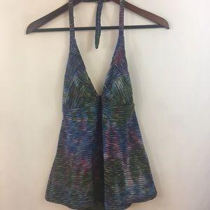 Lucky Brand Tankini Top L Tie Dye Halter Textured